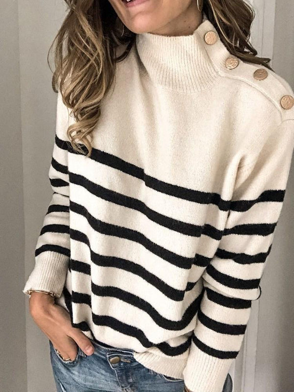 Pull Femme Bouton Col Montant Standard