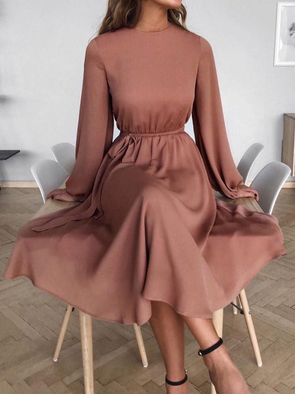 Robe Femme Col Rond Mi-Mollet Manches Longues A-Line Pull