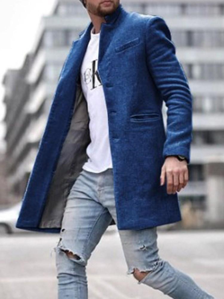 Manteau Homme Pure Mi-Longs Poche Type Droit Mode