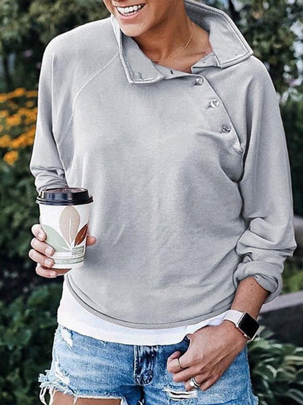 Sweat-shirt Femme Bouton Standard Pure Hiver Manches Longues