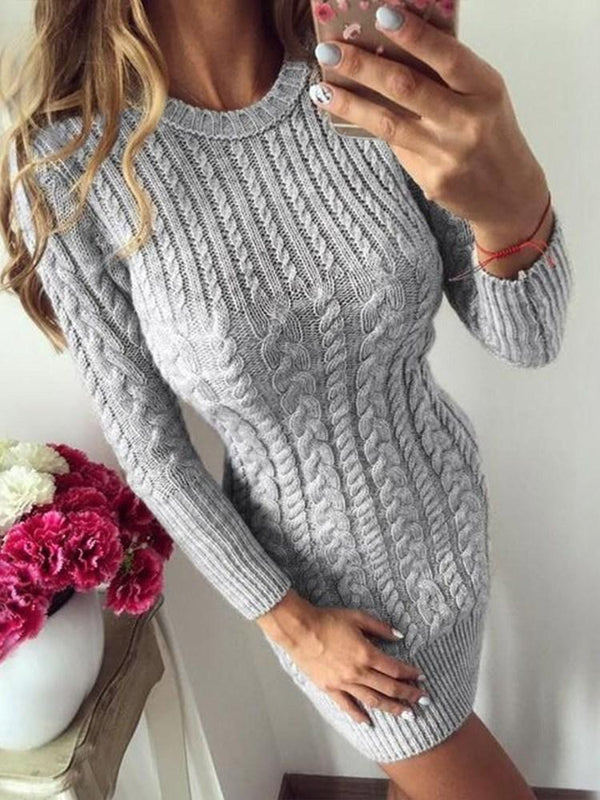 Robe Femme Jupe Neuf Points Manchon Col Rond Pure Taille Standard