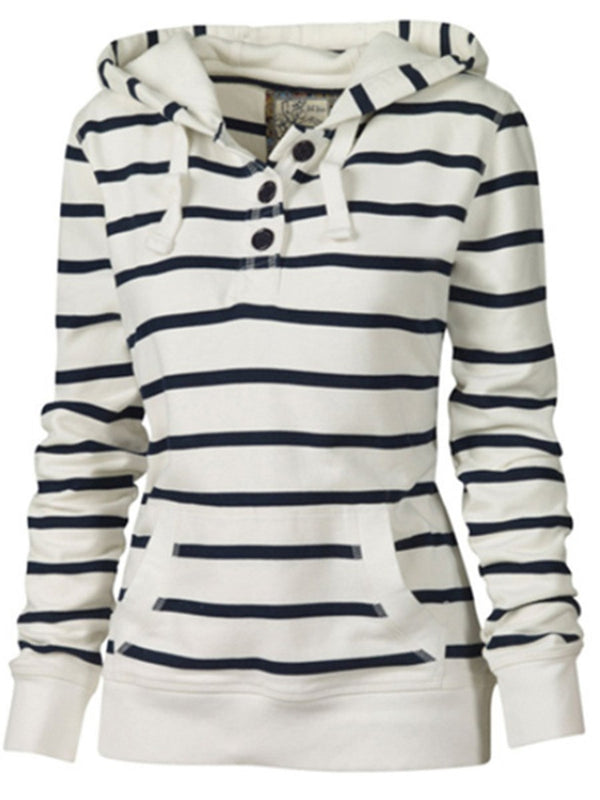 Sweat-shirt Femme Rayure Capuchon Printemps