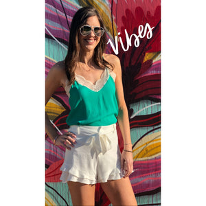 Emerald Lace Cami - Sayre's Eden Boutique