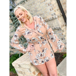 Blushing Flowers Long Sleeved Romper - Sayre's Eden Boutique