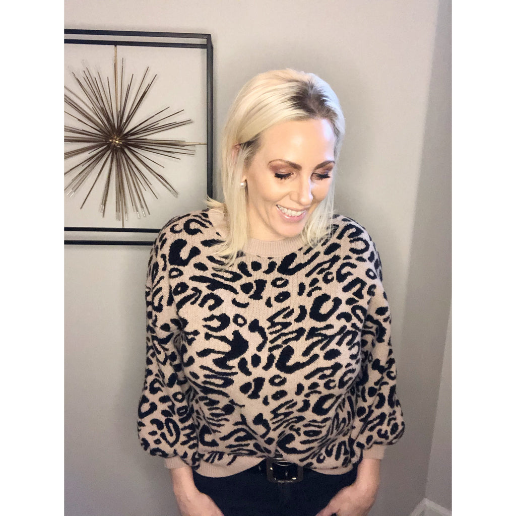 Leopard Bubble Sleeve Sweater - Sayre's Eden Boutique