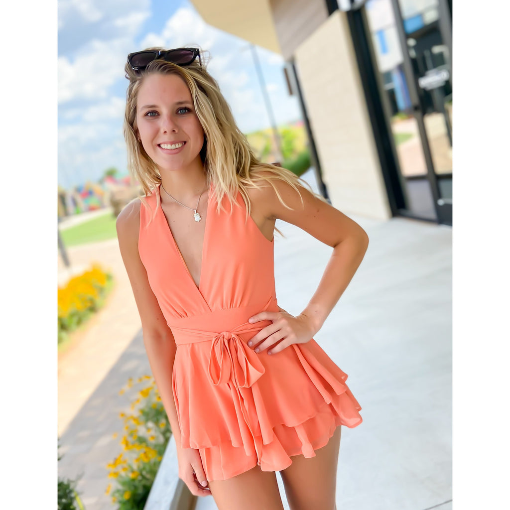 Ladies Night Salmon Romper - Sayre's Eden Boutique