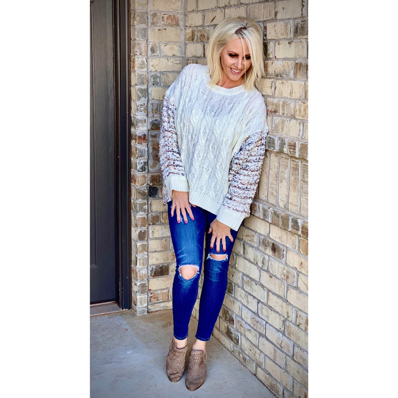Oversized Metallic Tinsel Sweater - Sayre's Eden Boutique