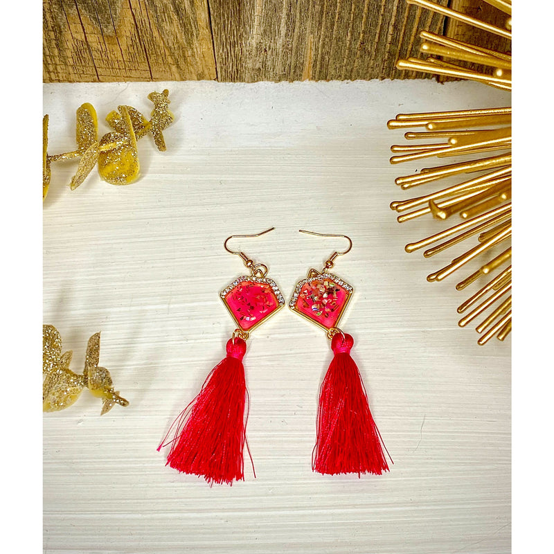 Pentagon Stud Tassel Earrings - Sayre's Eden Boutique