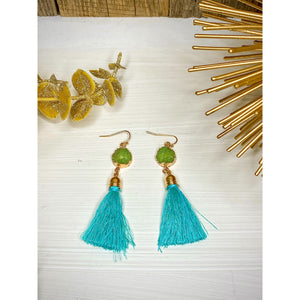 Druzy Stud Tassel Earrings - Sayre's Eden Boutique