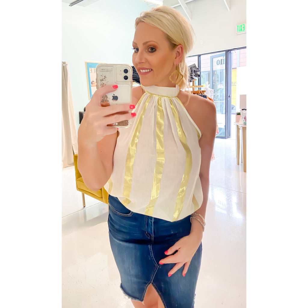 Sassy Metallic Sleeveless Top - Sayre's Eden Boutique
