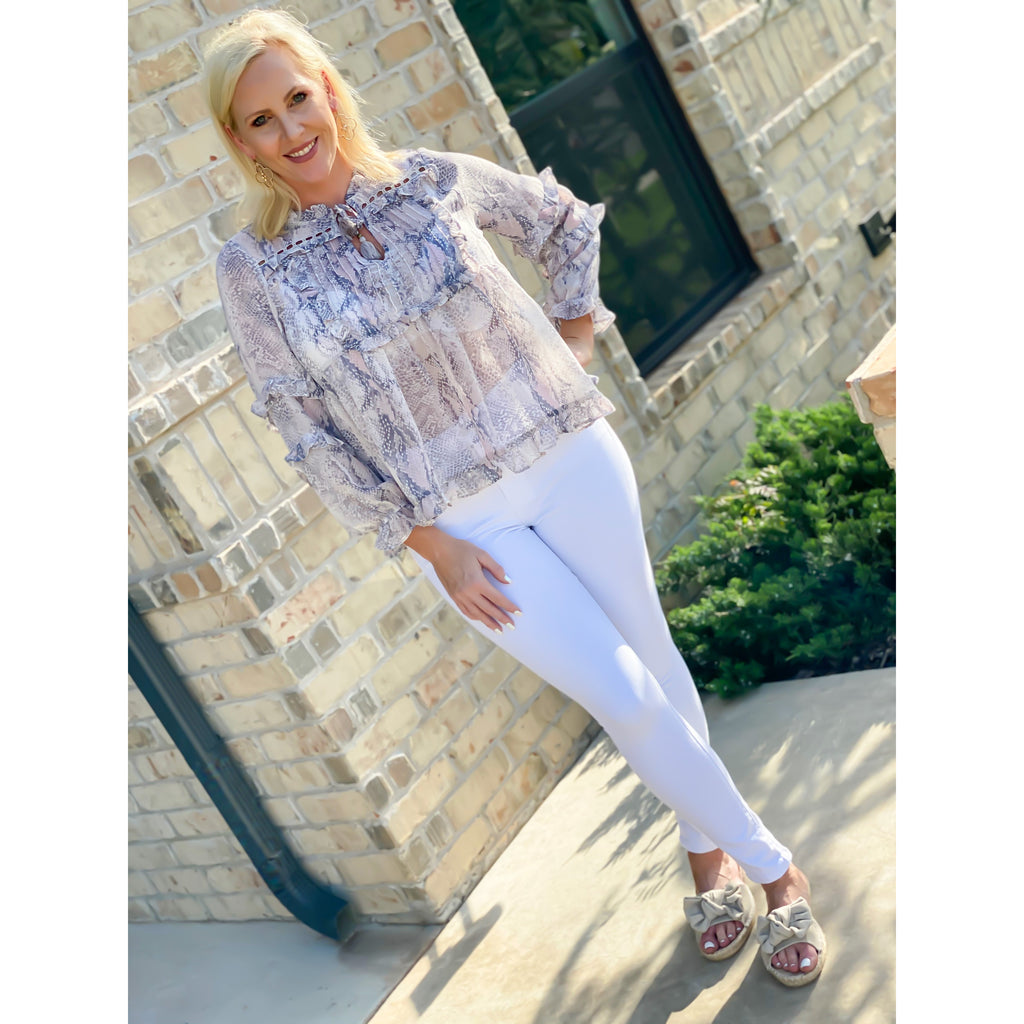 Blush Blue Boho Snake Top - Sayre's Eden Boutique