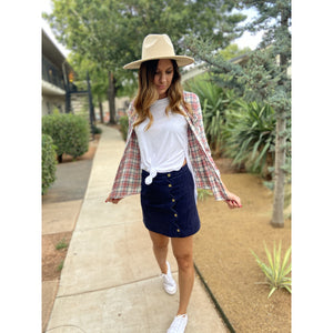 Navy Bean Mini Skirt - Sayre's Eden Boutique