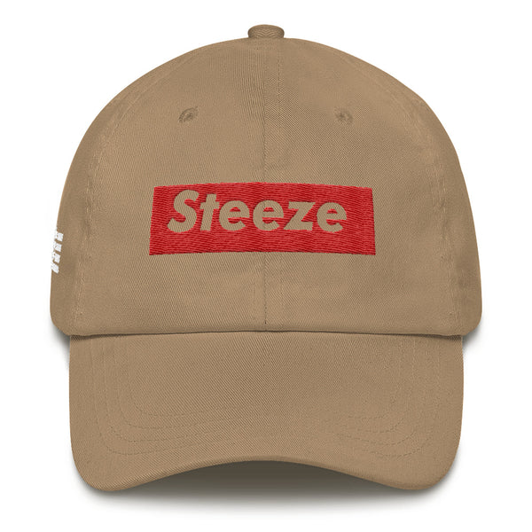 Steeze Candy Bar Logo Dad Hat (Red w/ white lettering)