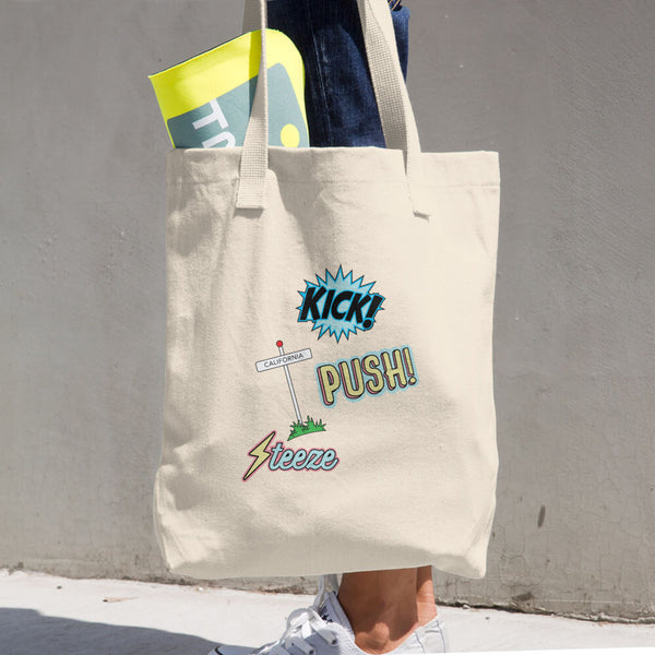 Kick, Push, Steeze Cotton Tote Bag