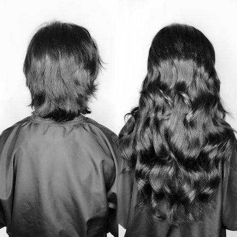 Before and after the Emme Hair Extension treatment