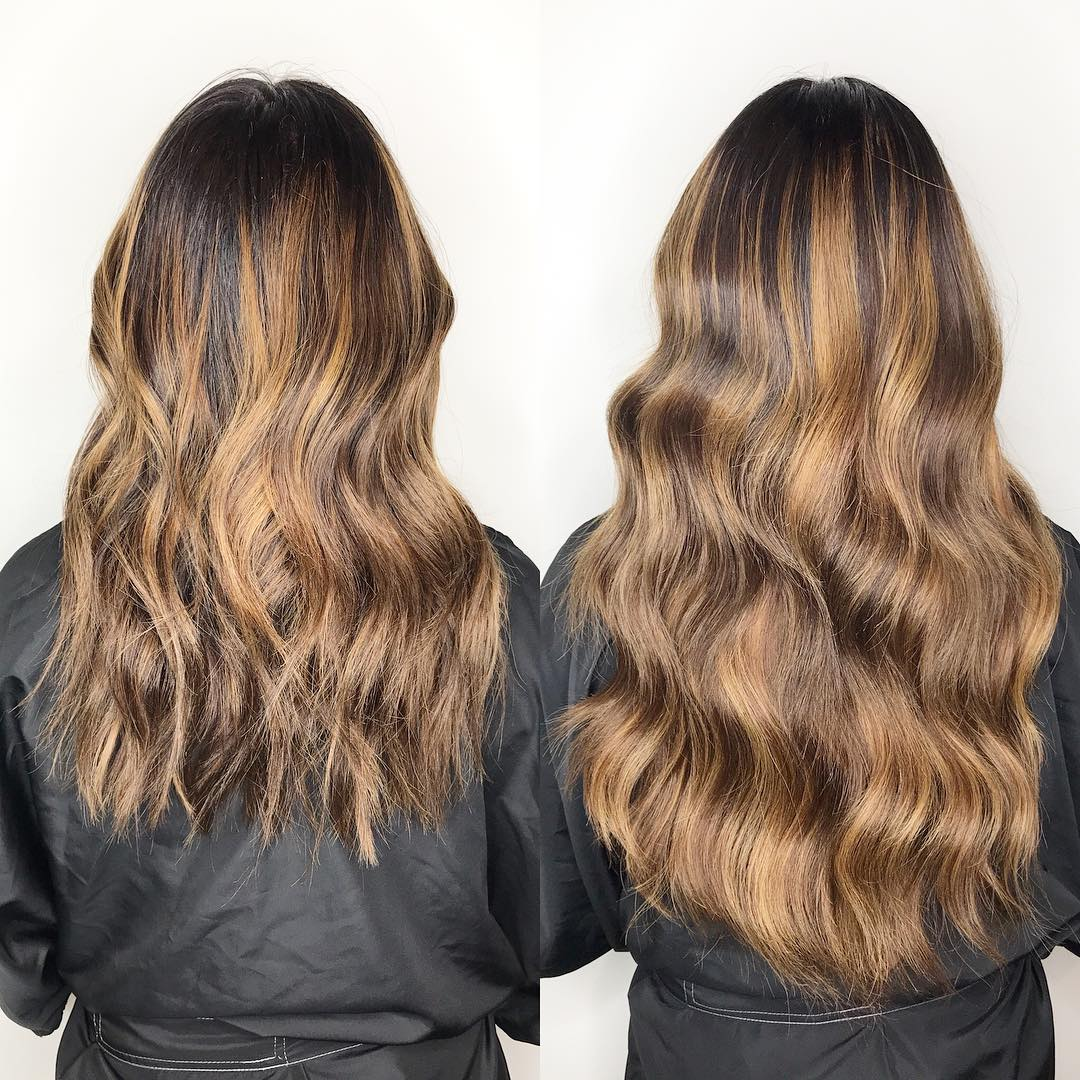 Blonde Before and After Hair Extensions
