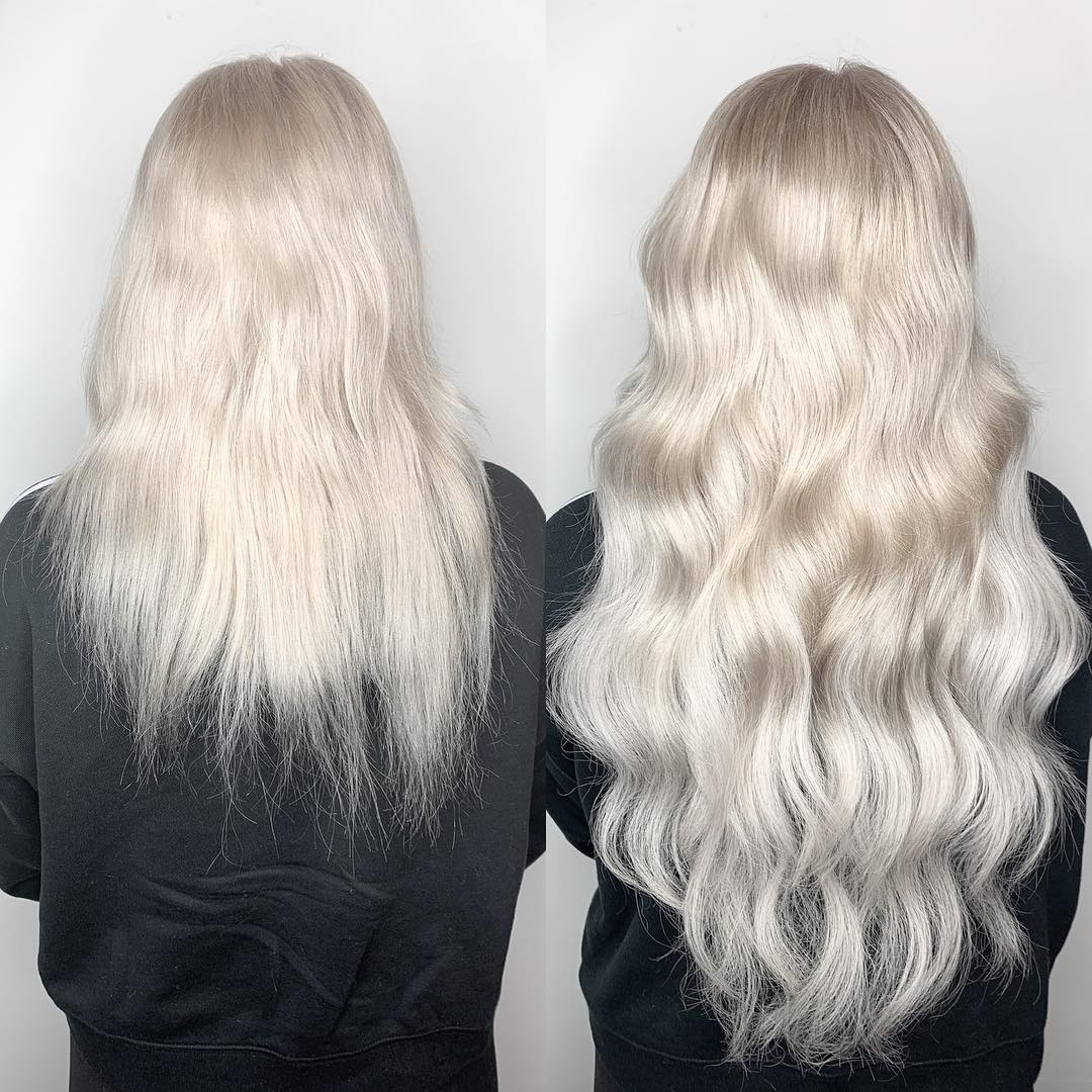 White Before and After Hair Extensions