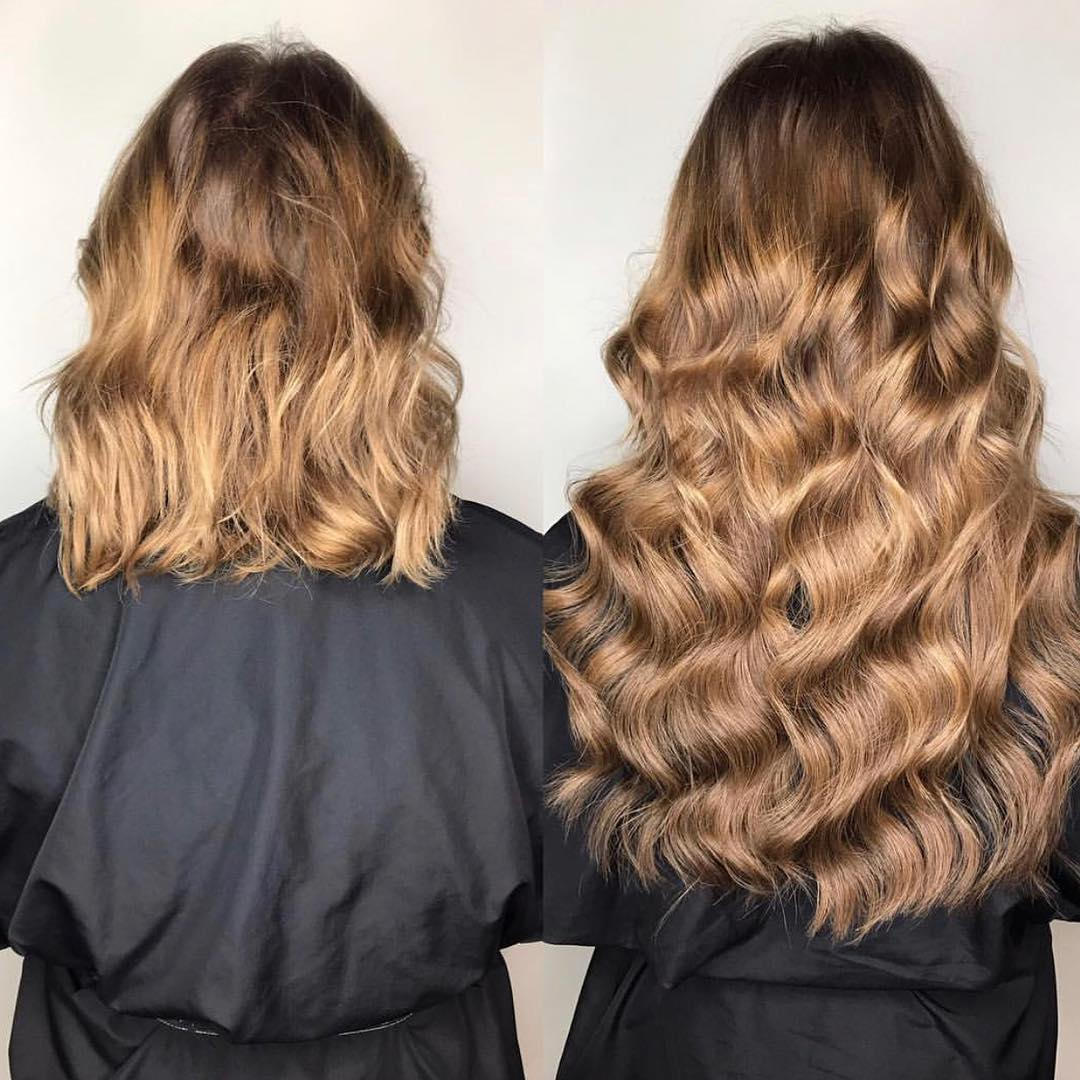 Gold Before and After Hair Extensions