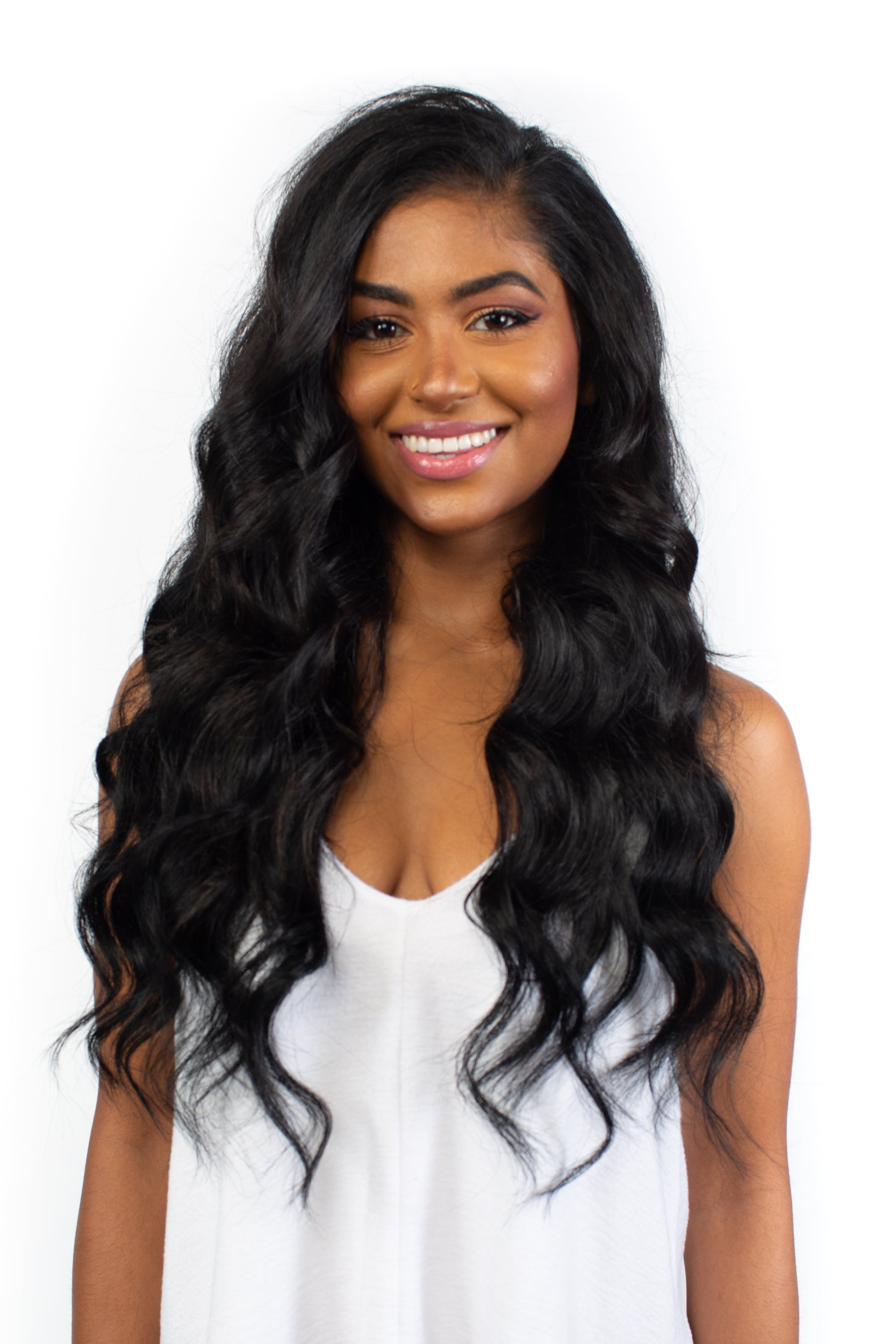 "14"" Dark Black Clip-In Hair Extensions"
