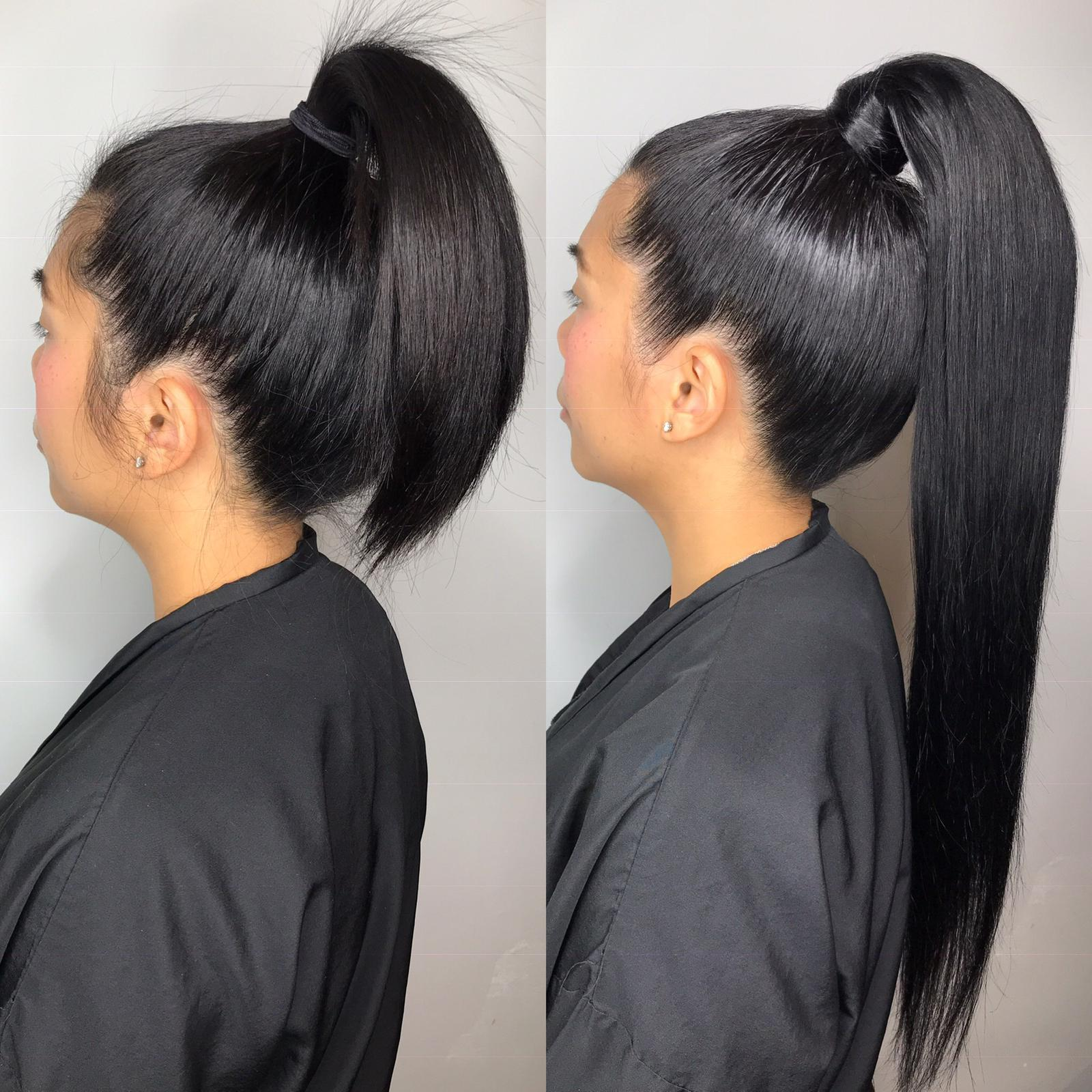 Dark Black Clip-in Ponytail - Dark and stormy