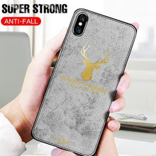 Load image into Gallery viewer, iPhone XS Max Luxury Gold Textured Deer Pattern Soft Case