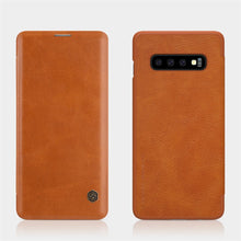 Load image into Gallery viewer, Galaxy S10 Plus Genuine QIN Leather Flip Case