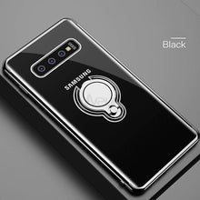 Load image into Gallery viewer, Galaxy S10 Glitter Edge Metallic Ring Holder Clear Case