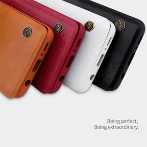 Galaxy S10 Plus Genuine QIN Leather Flip Case