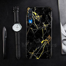 Load image into Gallery viewer, Galaxy A70 Gold Dust Texture Marble Glass Case