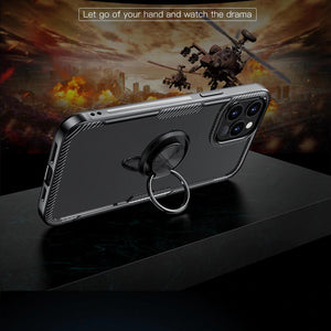 iPhone 12 Pro Shockproof Transparent Metallic Ring Holder Case
