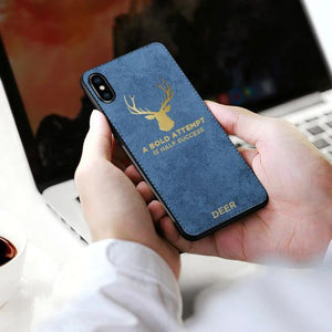 iPhone XS Luxury Gold Textured Deer Pattern Soft Case
