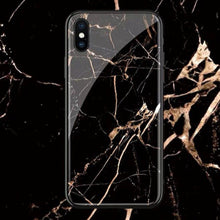Load image into Gallery viewer, iPhone XR Gold Dust Texture Marble Glass Case