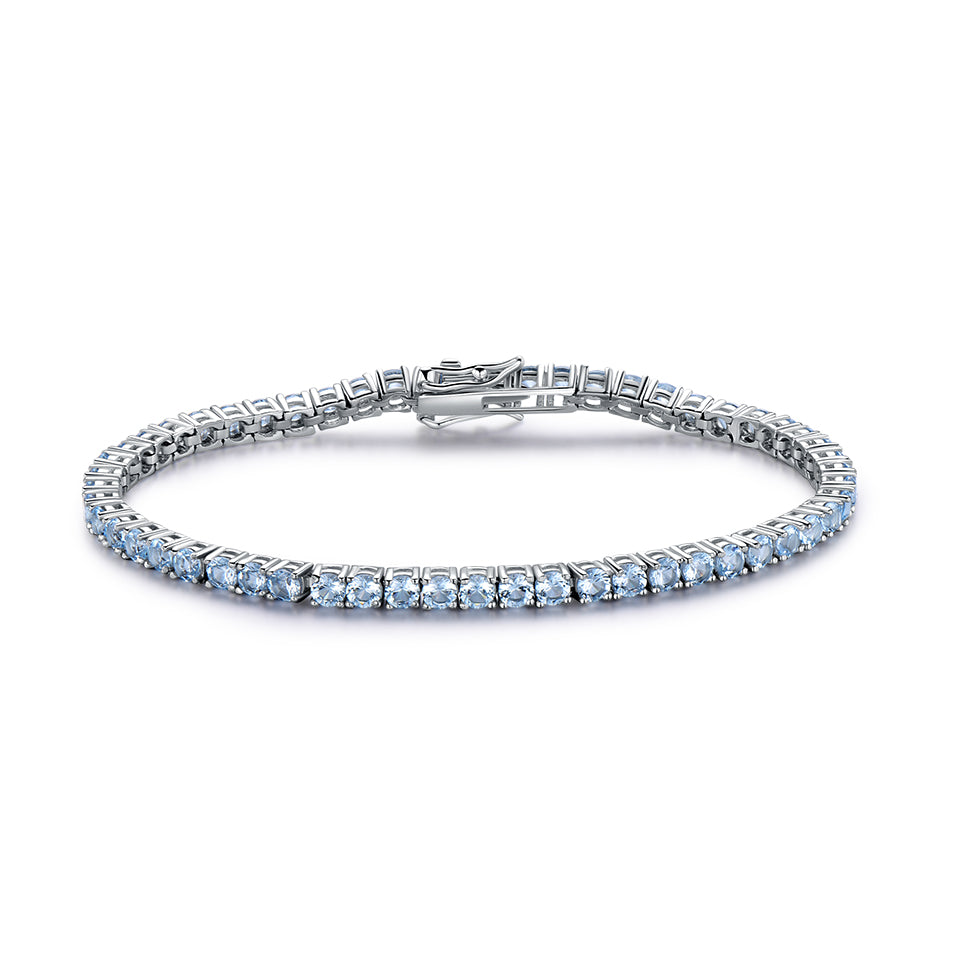 Load image into Gallery viewer, UMCHO Genuine 925 Sterling Silver Jewelry Created Sky Blue Topaz Gemstone Bracelet for Women Birthstone Wedding Party Jewelry