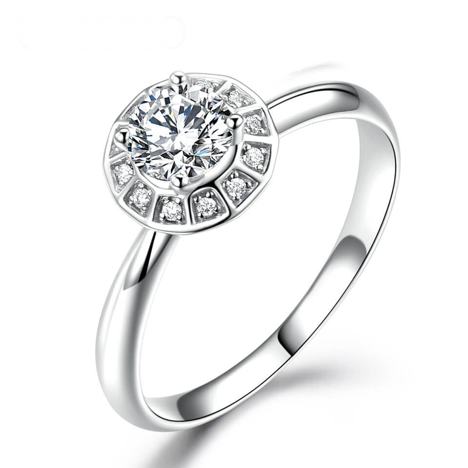 Solid 18k White Gold Wedding Anniversary Bridal Ring