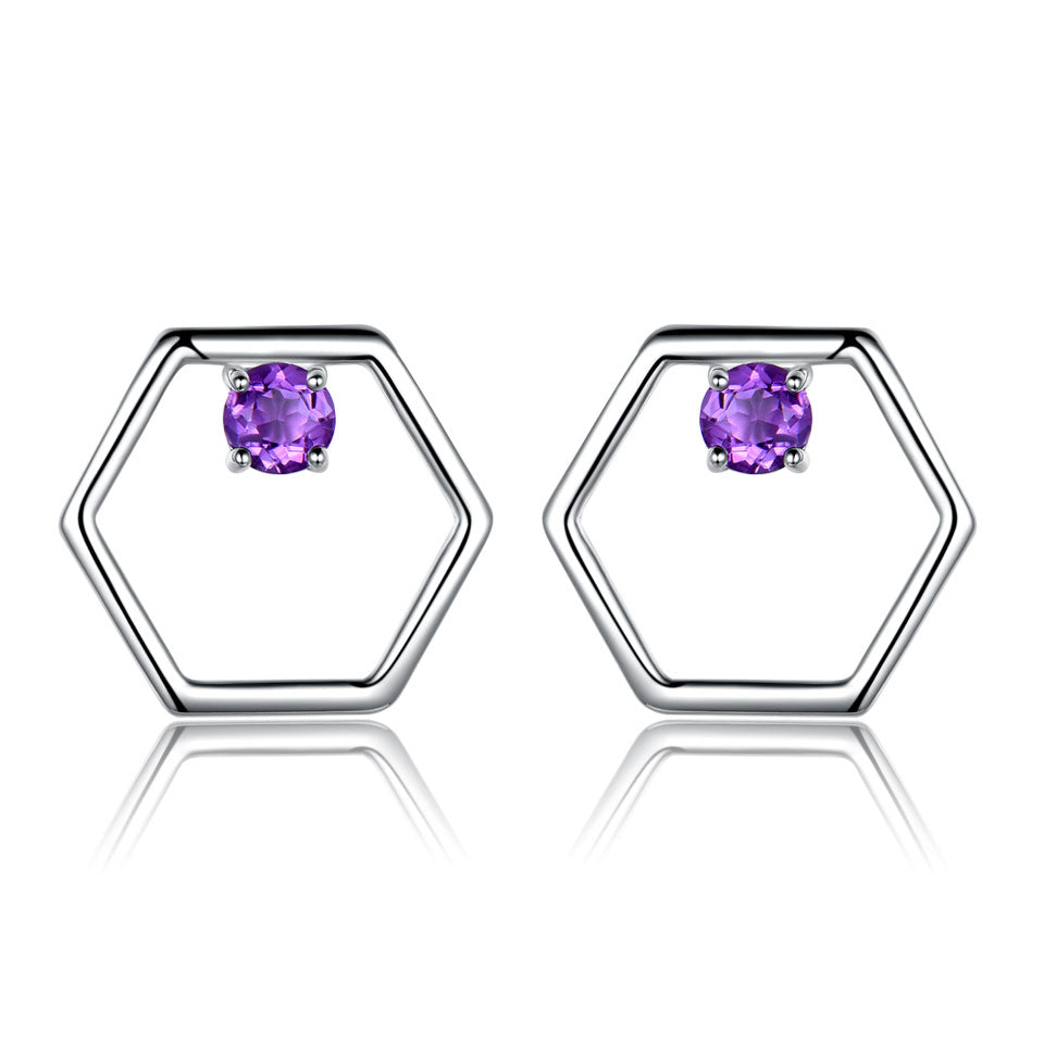 African Amethyst Stud Earrings