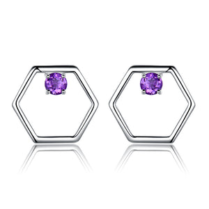 Load image into Gallery viewer, African Amethyst Stud Earrings