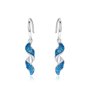 Load image into Gallery viewer, Blue Spiral Drop Earrings