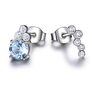Load image into Gallery viewer, Blue Topaz Silver Stud Earrings