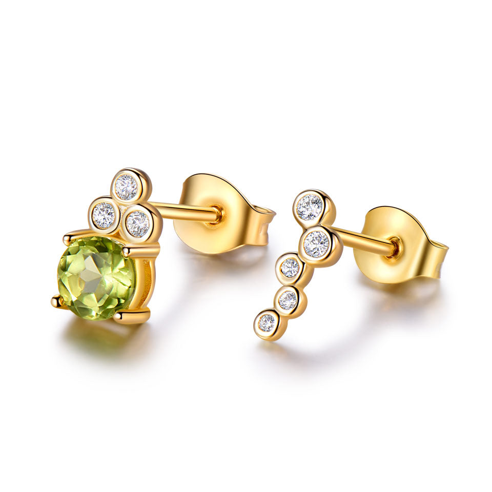 Load image into Gallery viewer, Peridot Silver Stud Earrings