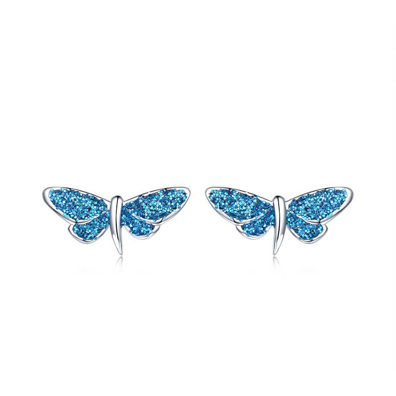 Load image into Gallery viewer, Glitter Butterfly Silver Earrings
