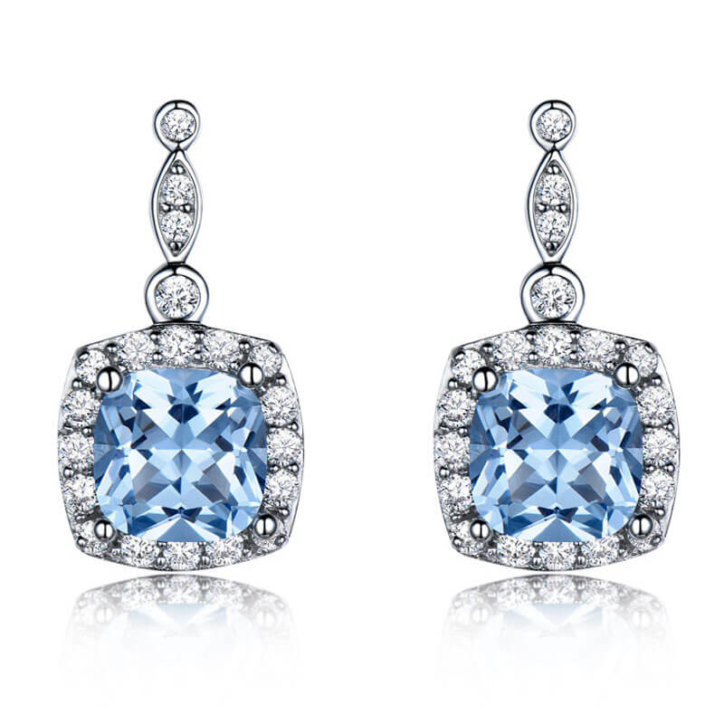 Load image into Gallery viewer, Blue Topaz Silver Drop Earrings