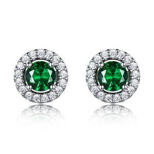 Load image into Gallery viewer, Nano Emerald Stud Earrings