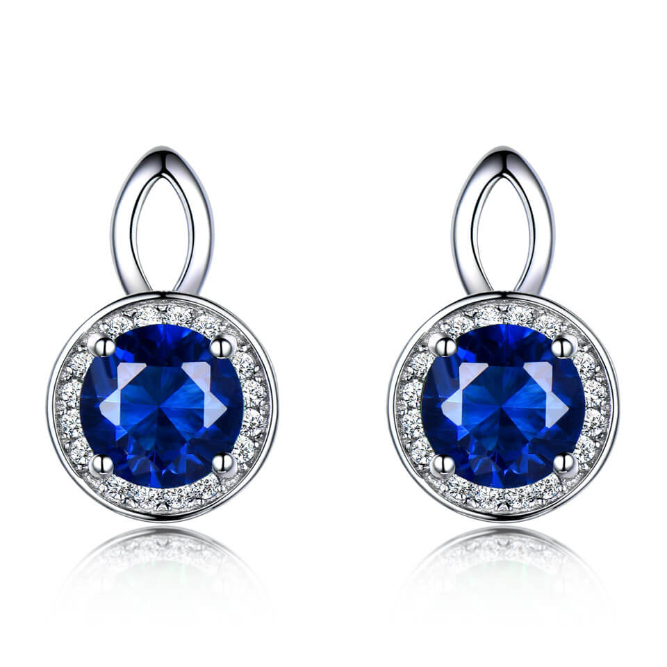 Load image into Gallery viewer, Princess Sapphire Stud Earrings
