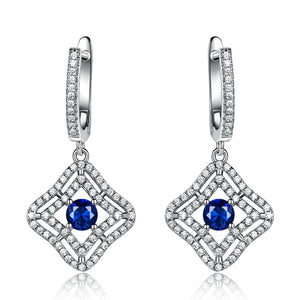 Load image into Gallery viewer, Blue Sapphire Long Earrings