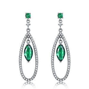 Load image into Gallery viewer, Emerald Dangle Earrings
