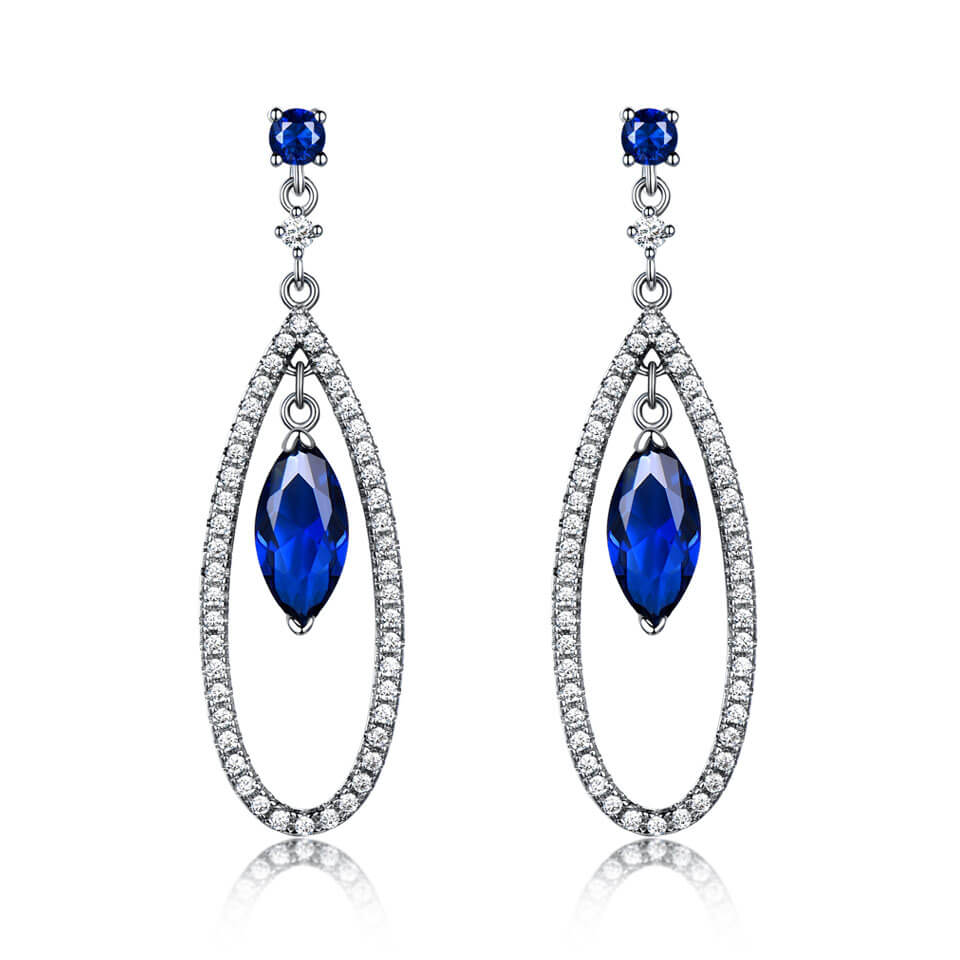 Load image into Gallery viewer, Blue Sapphire Dangle Earrings