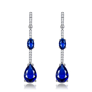 Load image into Gallery viewer, Blue Sapphire Drop Earrings