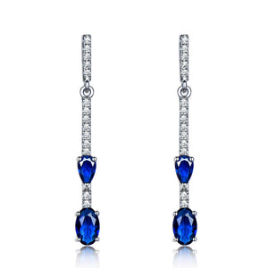 Load image into Gallery viewer, Silver Sapphire Drop Earrings