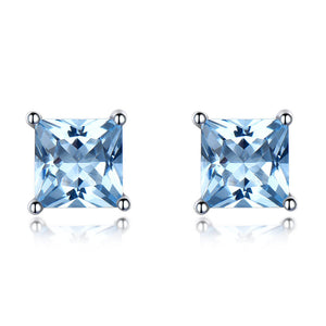 Load image into Gallery viewer, Princess-Cut Topaz Earrings