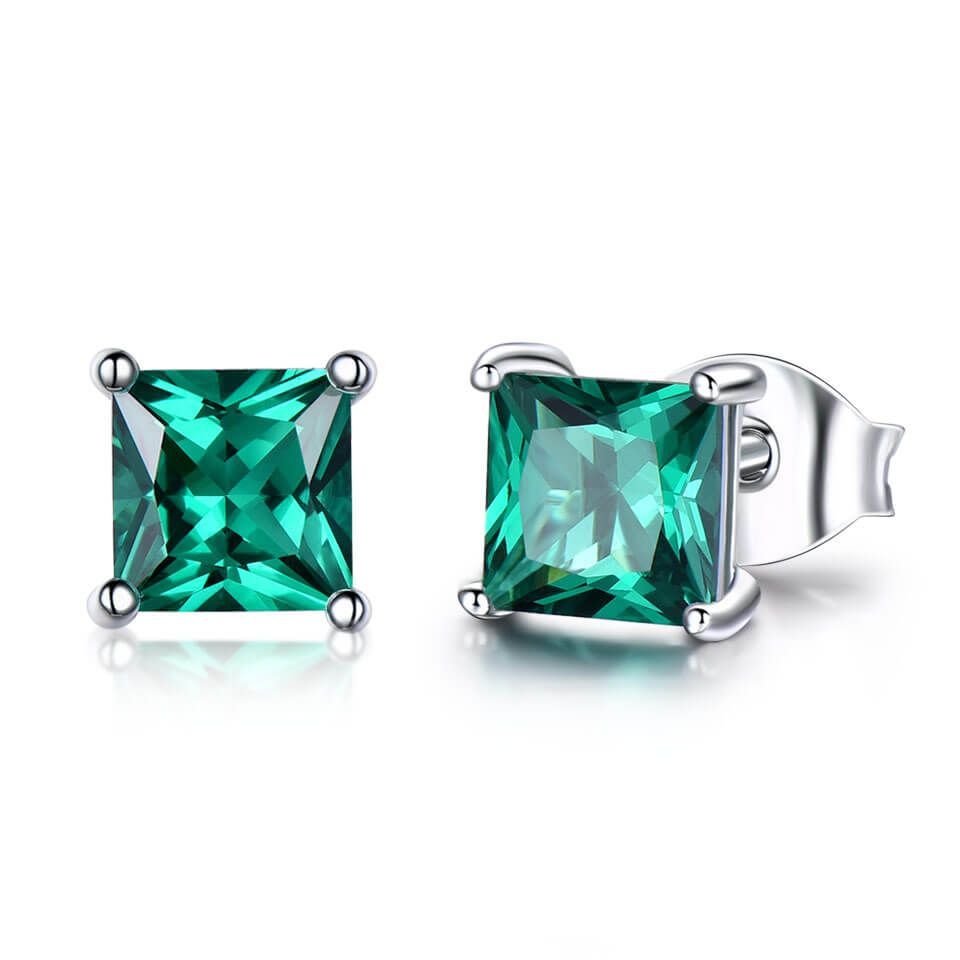 Princess-Cut Emerald Earrings